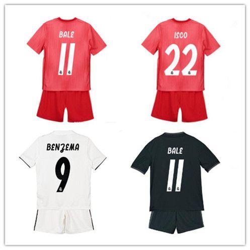 99f2fae28 2019 Kids Kit Real Madrid Football Jersey 2018 19 Home White Away ...