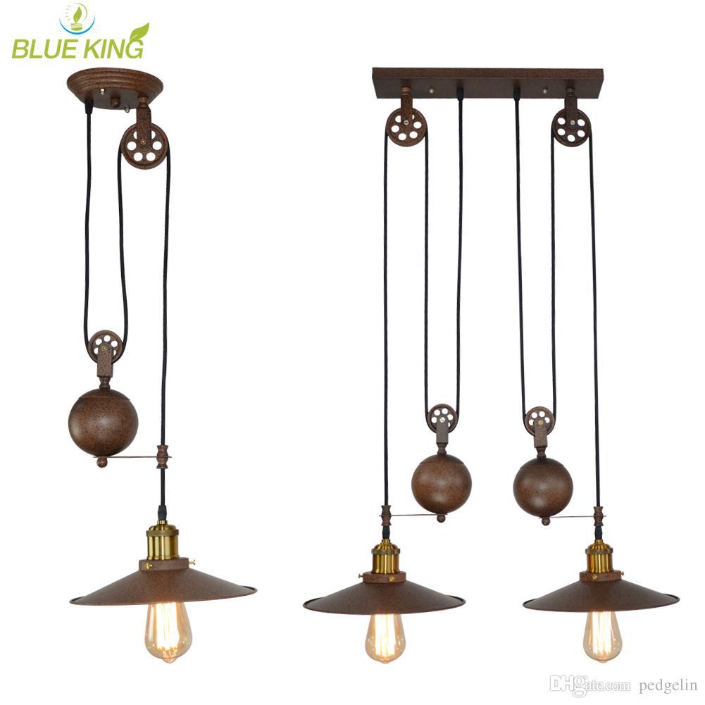 Iron Pulley Retro Edison Bulb Pendant Lights Vintage Loft Antique  Adjustable Diy E27 Ceiling Pendant Lamp Lustres Pendent lamp rustic color