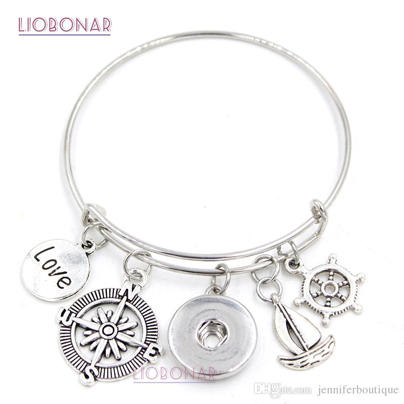 New Fashion DIY Interchangeable Jewelry Nautical Compass Shipwheel Sailboat Expandable Wire Bangle DIY Snap Bracelets for Women Gift Jewelry