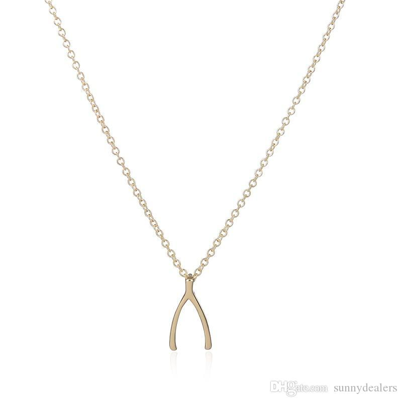 Buy Cheap Charm Hot Magical Wishbone Pendant Necklace Good Luck Charm Clavicle Chain Jewelry Gift Pendant Necklaces