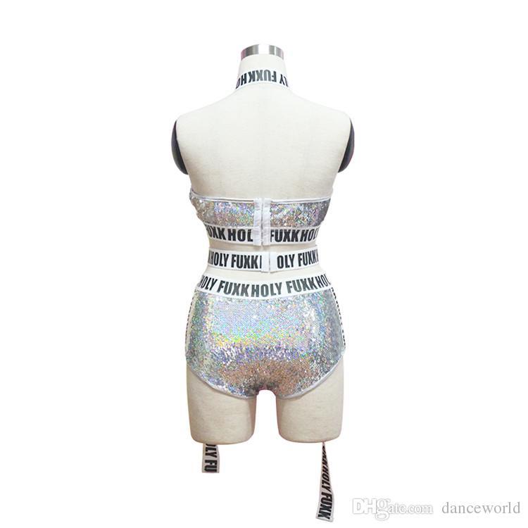 Nuevo Ds Show Silver Sequins Mujeres Long Sleeves Bodysuit Bar Dj Nightclub Sexy Dancers Letoards Disfraces de una sola etapa para cantantes