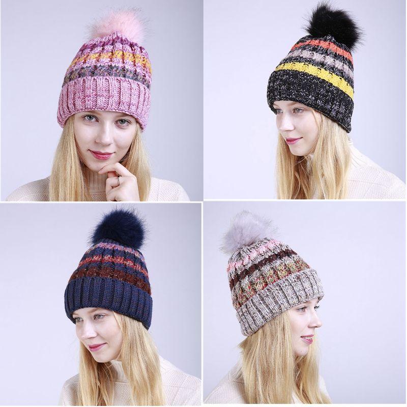 47cd8aff042 Winter Warmer Hat For Women Brand Beanies Knitted Caps Crochet Hat Ear  Protect Stripe Caps Ladies Pom Pom Beanies LXK131 Bucket Hats Bucket Hat  From Oldnavy ...