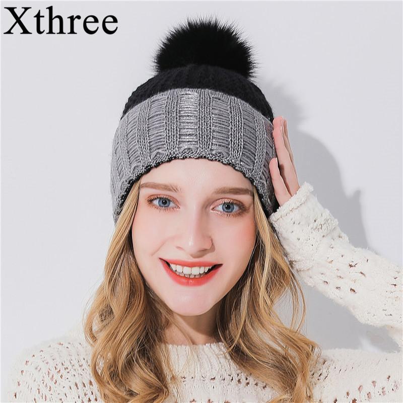 Compre Xthree Mujer Sombrero De Invierno Para Niña Sombrero De Punto  Mantener Cálido Beanie Gorro De Lana De Piel De Conejo Mezcla De Cachemira  Pom Pom Para ... 0e25d10e4f3