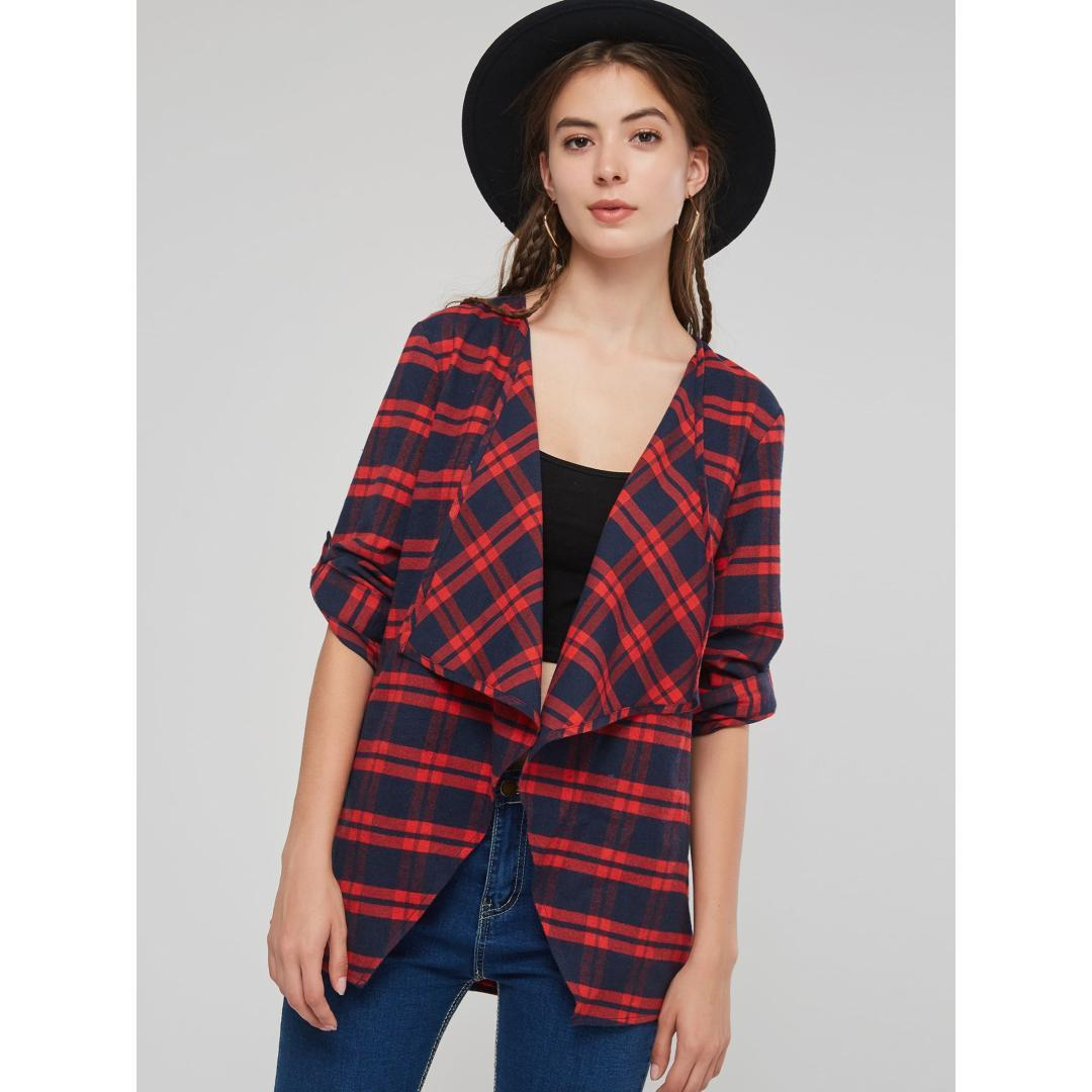 buy popular 9f9f6 3ad5d Giacca Donna Vintage Plaid Chic Top Cappotto basso Cardigan Risvolto  Autunno Inverno Street Fashion Allentato School Girl Casual Capispalla