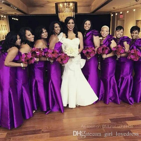 2dddd33830ef Elegant Custom Long One Shoulder Purple Satin Mermaid Bridesmaid Dress Plus  Size Floor Length Zipper Vestidos De Dama De Honor For Women Bridesmaid  Dresses ...