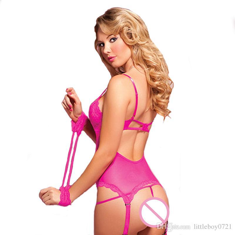Women Sexy Lingerie Lace Intimate Nightclub Push Up Wirefree Bralette Transparent Seamless Pajamas Underwear Full Slip