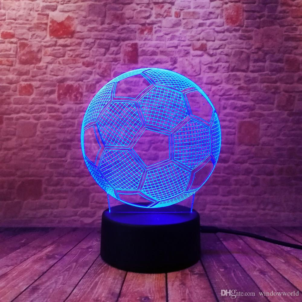 3D Illusion Football Remote Control LED Desk Table Night Light Touch Lamp kids Family Holiday Gift Home