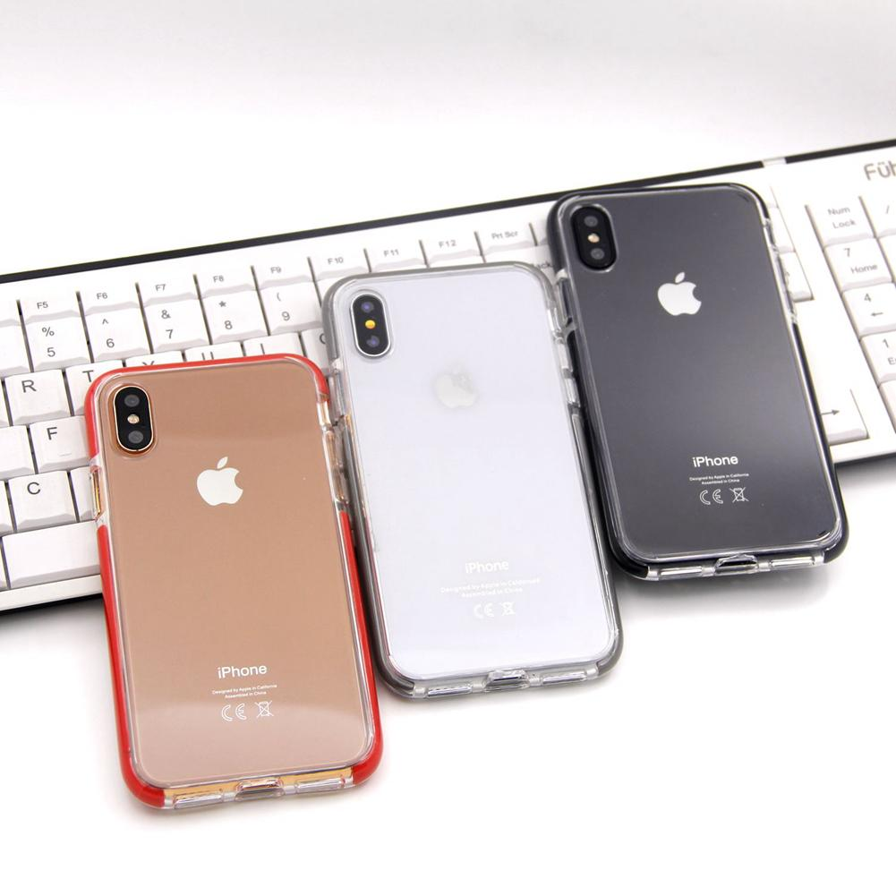 Greaseproof HD Transparent Clear Plastic Back Cover Case Soft TPU Shock Absorption Bumper Anti-bursting Anti-scratch for iPhone X Goophone X