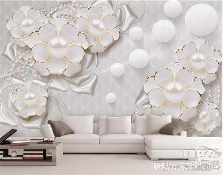 Personalizado foto papel de parede adesivos de parede grandes murais santo branco jóias de luxo flores sala de estar TV papel de parede