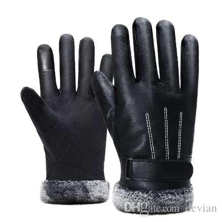 Man Outdoor Car Driving Mittens 2018 Winter Men PU Leather Short Thicked Black Touch Screen Gloves Men Waterproof Gloves For Ski