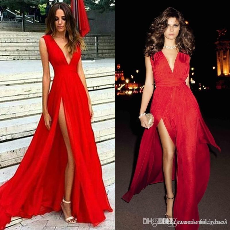 444bbad6a7 Cheap Sexy Red Deep V Neck Prom Dresses High Slit With Sash Evening Dresses  Party Gowns Plus Size Vintage Style Prom Dresses 50s Prom Dresses From  Marryme3