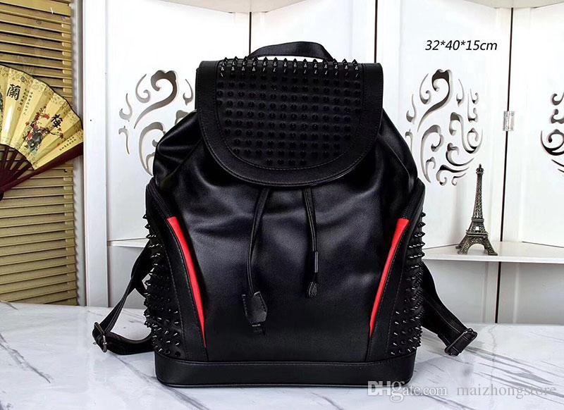 rock et mode style cuir noir véritable grand homme la capacité de la mode sac à main de luxe hommes de leahter sacs à dos sacs de voyage