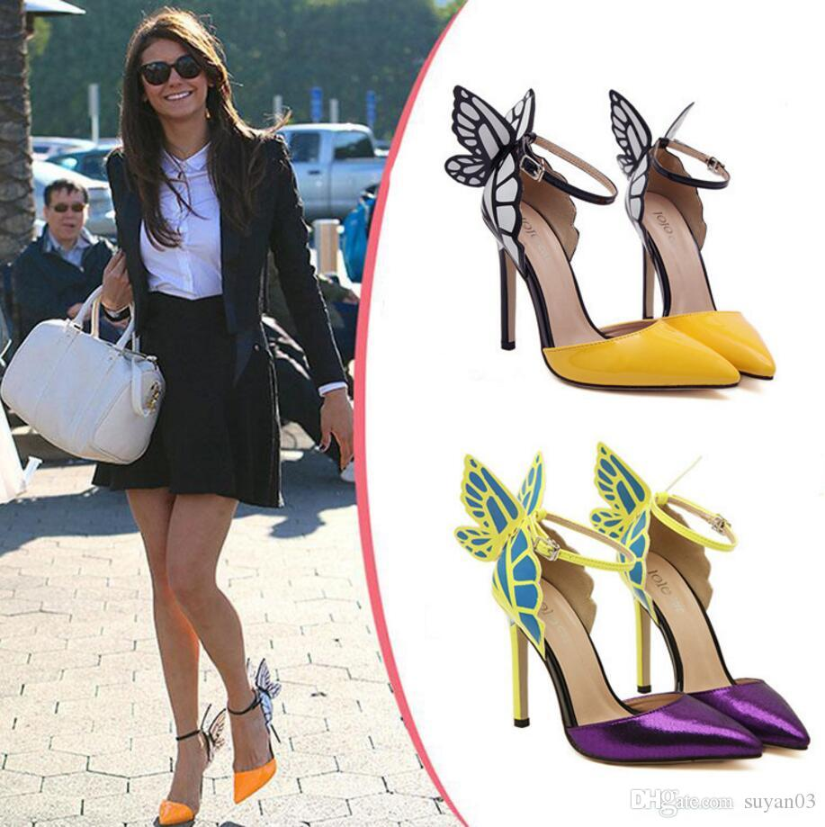 2b95eb25382 Fashion Thin High Heels Women Pumps 8 11cm Butterfly Heels Sandals Sexy  Wedding Shoes Party Yellow Purple Black Wedding Shoes Wide Fit Wedding  Shoes With ...
