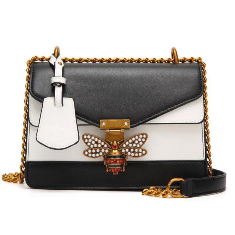 Luxury Brand Women Color Splicing Little Bee Bags Lady Clutches Locks  Famous Designer Handbags Gold Chain Shoulder Messenger Bag Handbags Brands  Hobo ... 6212fcef48ef5