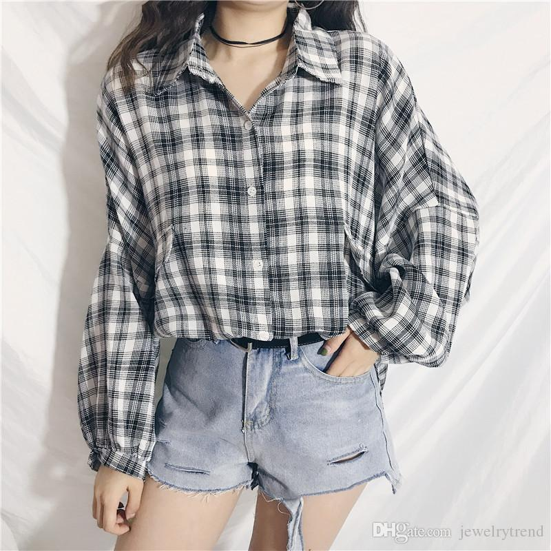 5a25d362ad7e8 2019 2018 Autumn Women S Plaid Shirt Puff Sleeve Lady S Plus Size Shirt  Tops Woman Casual Blouse Top Red Black C3604 From Jewelrytrend