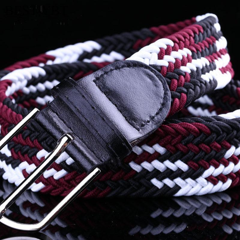 Best YBT Unisex Belt Pin buckle Men Women's casual Canvas Belt Tidal current weaving elastic cowboys Belt Multicolor