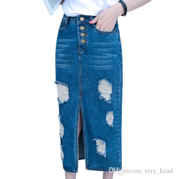 2018 Primavera Estate Autunno moda donna lungo denim gonna casual plus size maxi gonne vintage jeans Hem gonne a matita Split