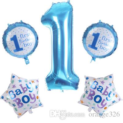 Baby 1st Birthday Balloons Set Pink Blue Number Foil Party Decorations Kids Supplies For