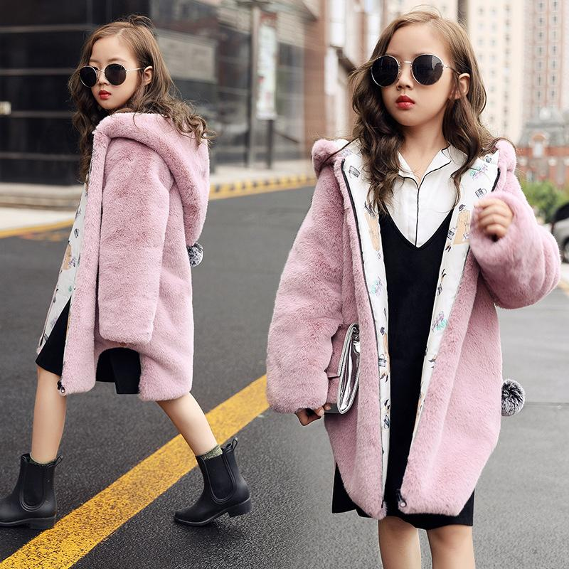 e9875e8ce Kids Girls Faux Fur Coat Hooded With Hairball Jacket Russian Winter  Outerwear Children Clothing For 2 9 Years Old Baby Girl Toddler Girls  Winter Coats Kids ...
