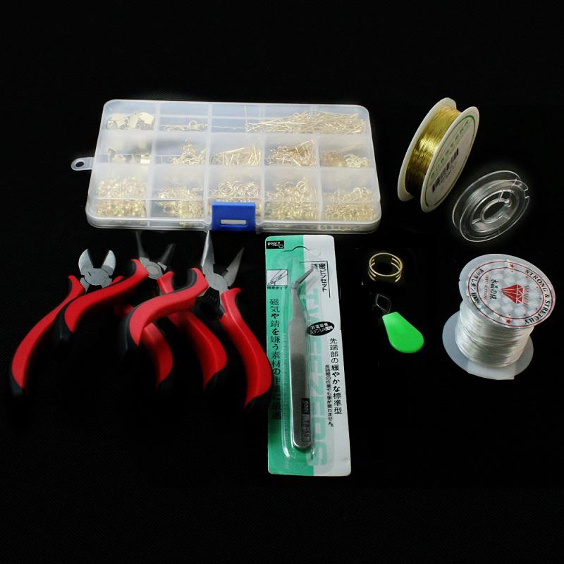 JEWELRY MAKING KIT, BEADS CAP/FINDINGS/PLIERS/Pins/Jump Rings/Wire ...