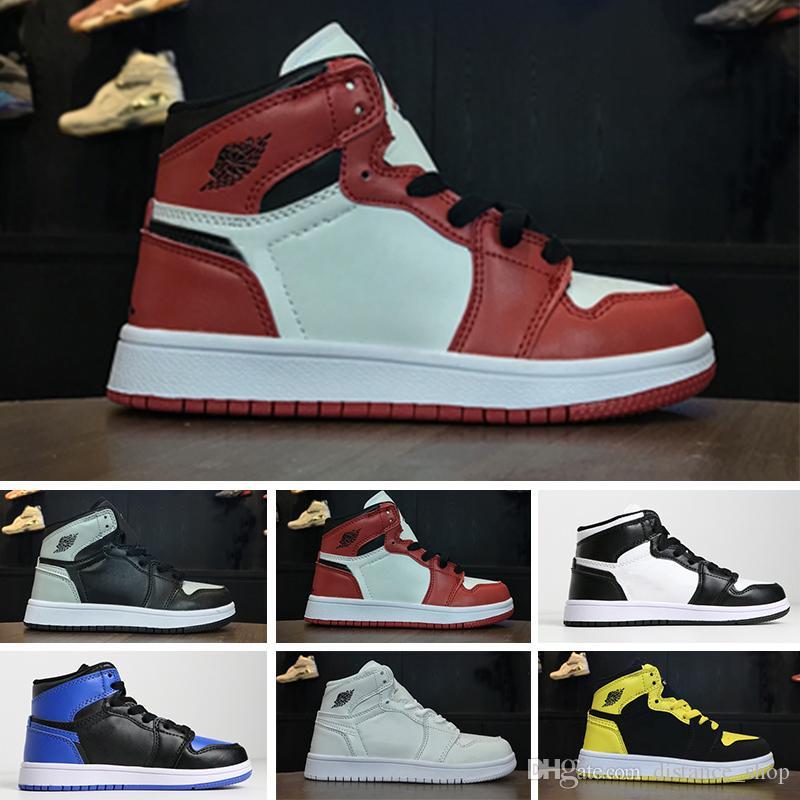 386a1960162b4e Compre Nike Air Jordan 1 Retro Zapatos Para Niños OG 1 1s 6 6s 11 11s 12  12s 13 13s Zapatos De Baloncesto Niños Boy Girl 1 1s Top 3 Bred Negro ...