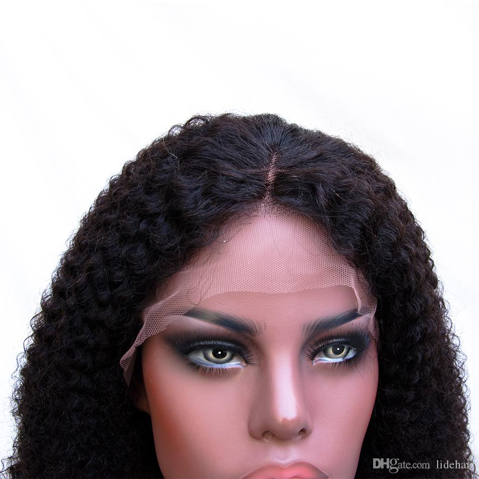 Peruvian Virgin Hair Kinky Curl Color Black Lace Front Wigs Full Lace Human Hair Wigs 150 Density Pre Plucked Wig