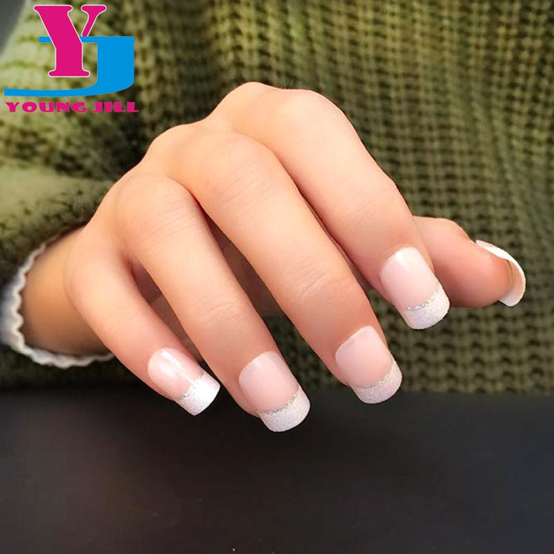 Classical French Nail Art Tips Short False Nail Tips Acrylic Patch ...