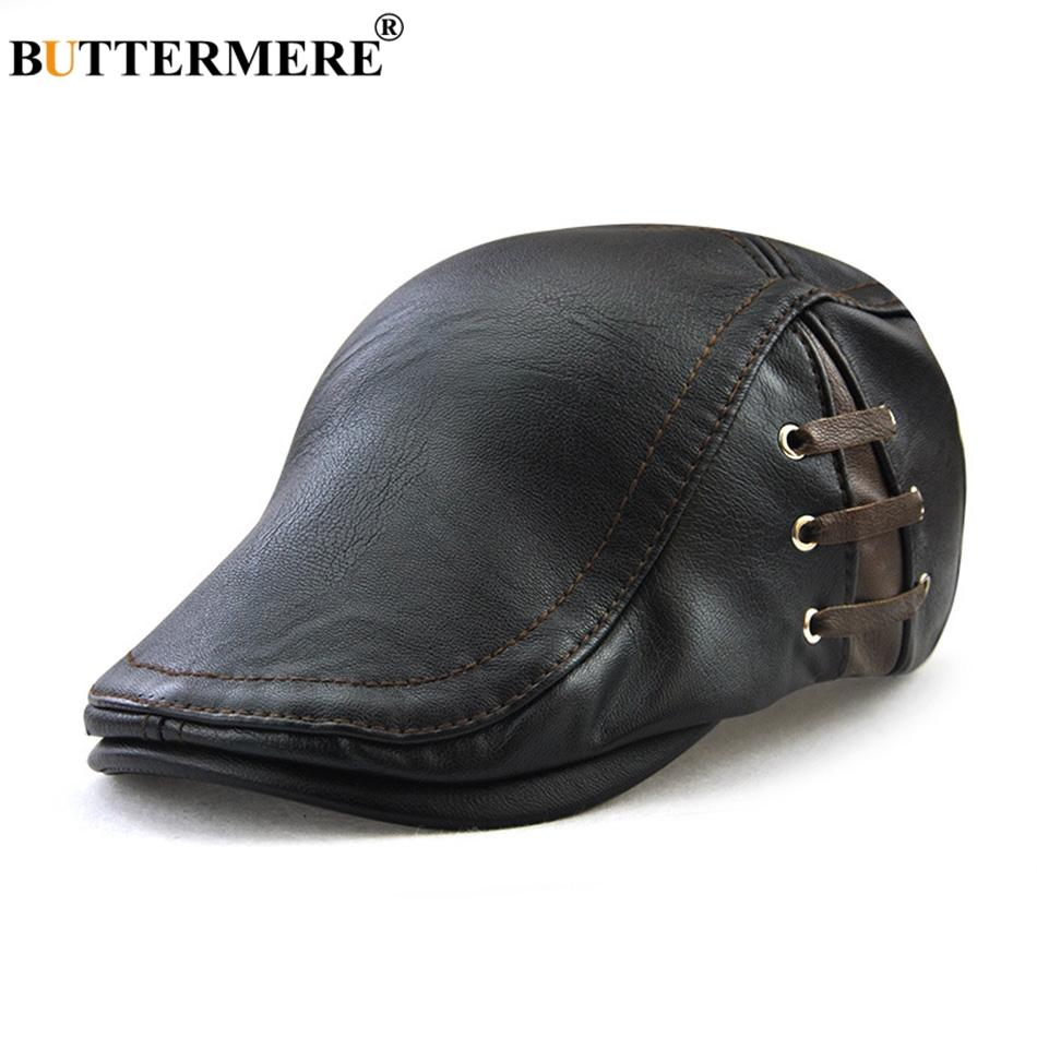 0a910f4188757 BUTTERMERE Beret Cap Men Black Faux Leather Directors Duckbill Hat Male  Adjustable Vintage Autumn Winter Casual Cabbie Flat Cap