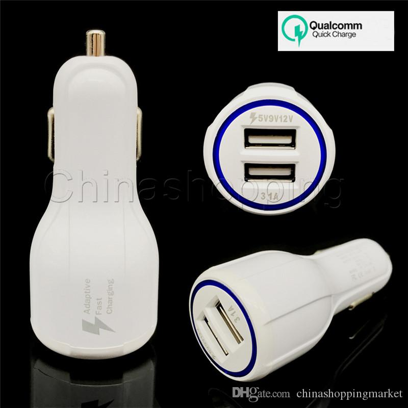 QC2.0 3.1A Fast Car Charger Dual USB 9V 2A 12V 1.2A Fast Charging Phone Charger For Mobile Phone with Retail Package