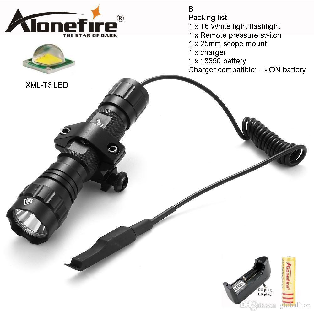 AloneFire 501Bs CREE XML T6 LED Tactical Flashlight Portable Lantern Torch with Remote Pressure Switch Tactical Mount for 18650 battery