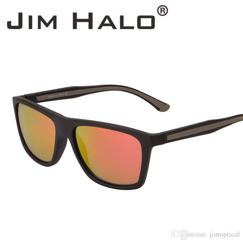 d44c67fa1d6d2 Compre Jim Halo Retro Vintage Quadro De Revestimento De Borracha Óculos De  Sol Quadrado Flash Vermelho Espelhado Óculos De Sol UV400 Homens Mulheres  Eyewear ...