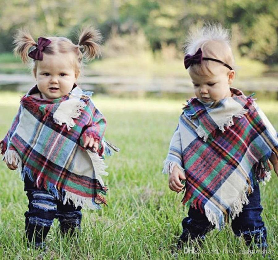Bebek Kızlar Kış Ekose pelerin Çocuklar şal eşarp panço kaşmir Pelerinler Dış Giyim Çocuk Mont Ceketler Giyim Giysi