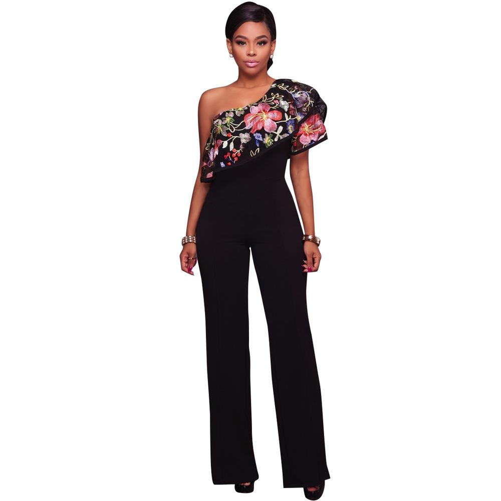 4ce049a309c 2019 Zmvkgsoa Embroidery Floral Ruffle Jumpsuits Womens Romper Overalls  Sexy One Shoulder Jumpsuit Women Rompers Body Feminino Y1840 From  Deborahao