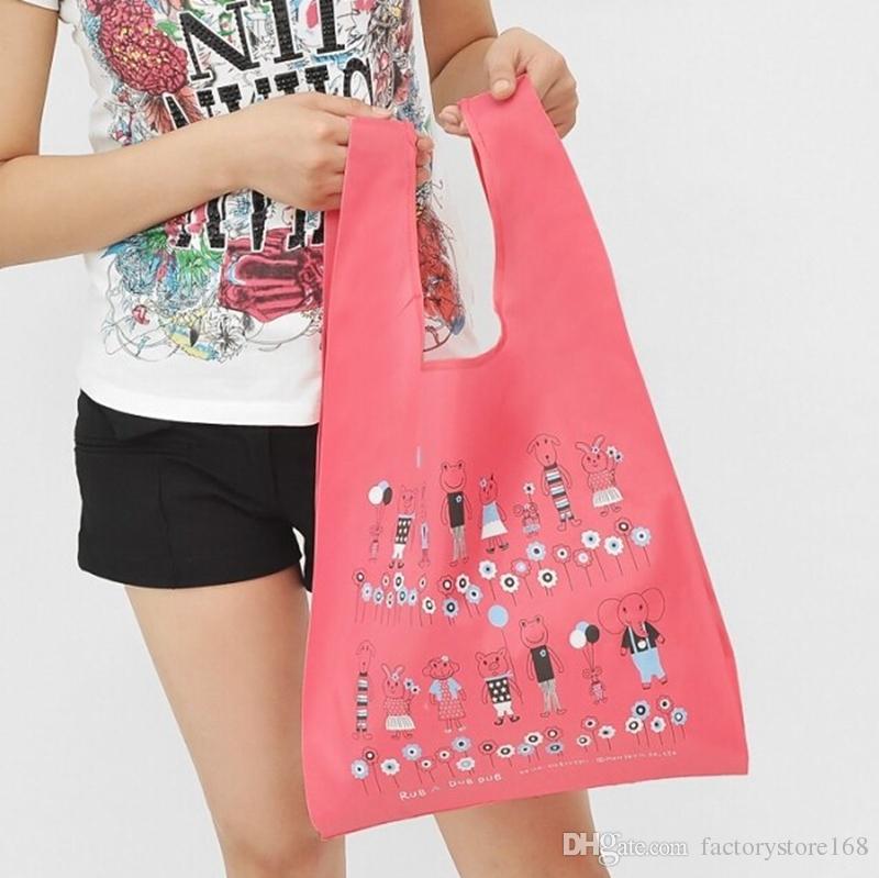 aeed391b6495 Korean Style Cartoon Foldable Shopper Bags Creative Folding Tote Bags 210D  Oxford Cloth Pattern Printing Handbags Handbags For Sale Fashion Handbags  From ...