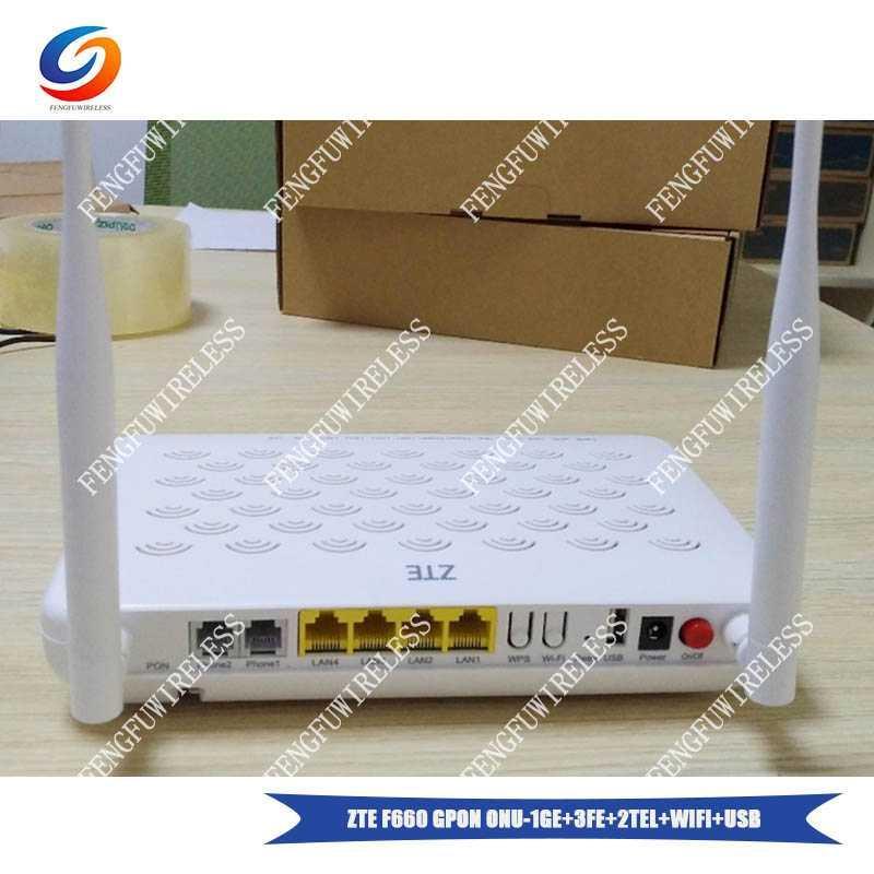 100% Brand New and Original ZTE F660 2POTS 4LAN 1USB 1WiFi GPON ONU  Compatible FTTH Fiber Optical Network router