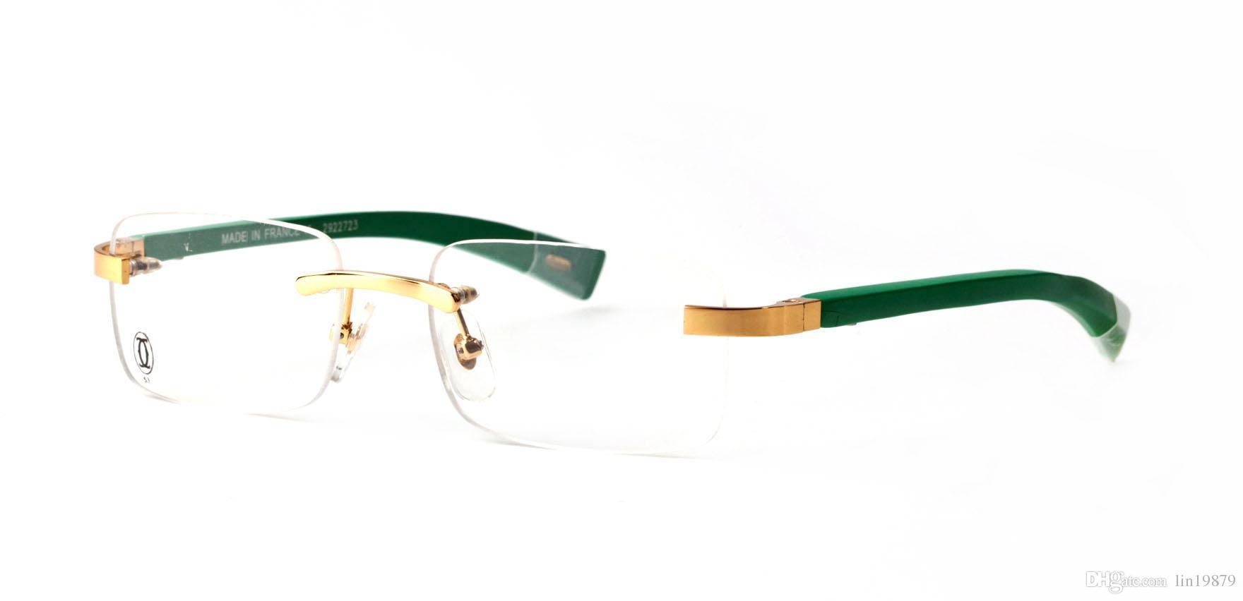 Compre Gafas De Sol Sin Montura Marcos Verde Oro Metal Acetato ...