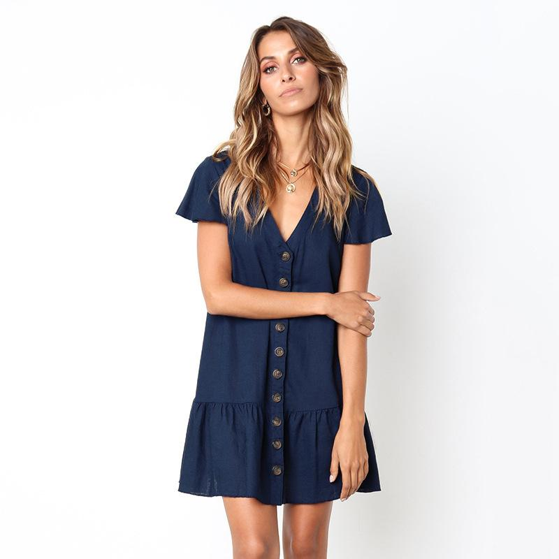 eb11e8f429 Casual Short Sleeve Loose Summer Dress Office Lady V Neck Sexy Mini Dress  Button Ruffles Solid Dresses 2018 Cotton Beach Vestido Sun Dresses For Sale  ...