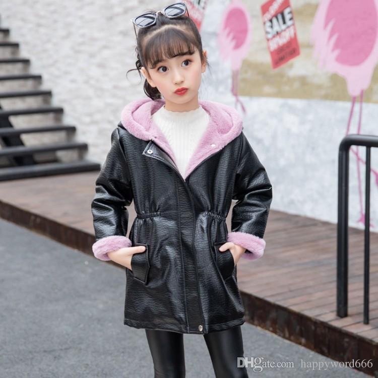 Girl S Winter Fashion Leather Jacket Children Coriaceous Warm Coat