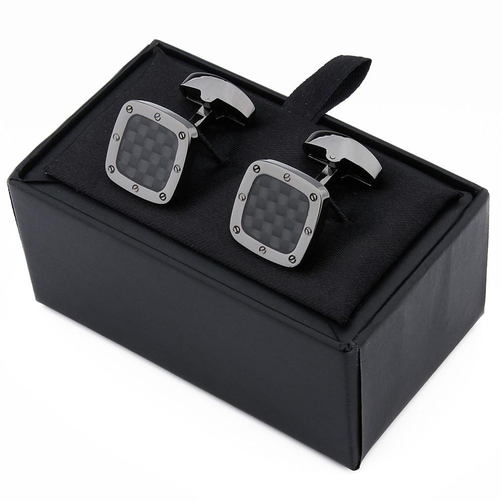 Classic Carbon Fiber Cufflinks Square Black Metal Cuff links Enamel Jewelry Cuff