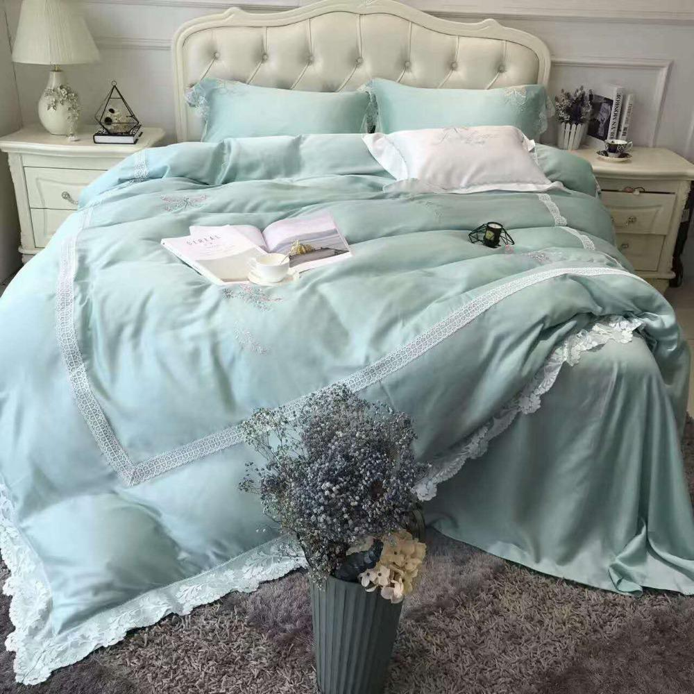 light blue 100s egyptian cotton luxury embroidery royal bedding set rh dhgate com
