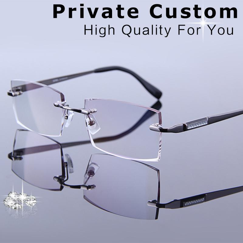 d4748f244477 2019 High Grade Eye Glasses For Men Fashion Charm Rimless Rhinestone  Eyeglasses Male Prescription Glasses Customized Myopia Hyperopia From  Tiebanshao