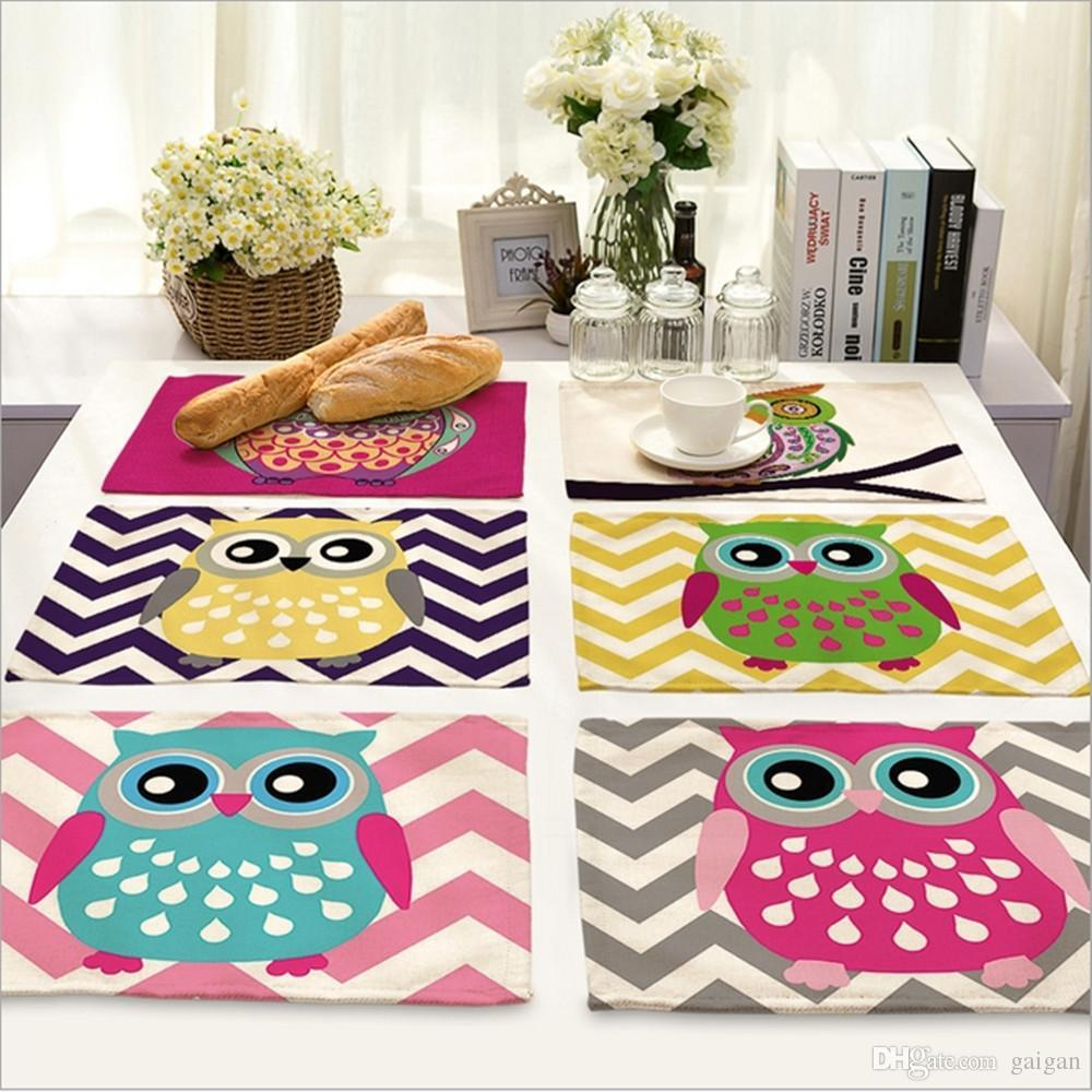 Wholesale home decor cartoon owl placemat linen fabric table mat dishware coasters for kitchen accessories wedding party decoration fabric table mats table