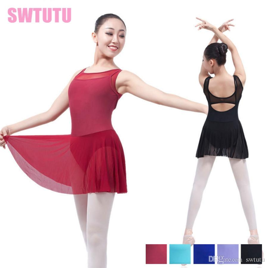 e8a9f0917b65 2019 Adult Tank Black Mesh Ballet Leotard Dancing Dress Lyrical Dress  Professional Stage Ballet Clothes Dress ML6031 From Swtutu, $18.6 |  DHgate.Com