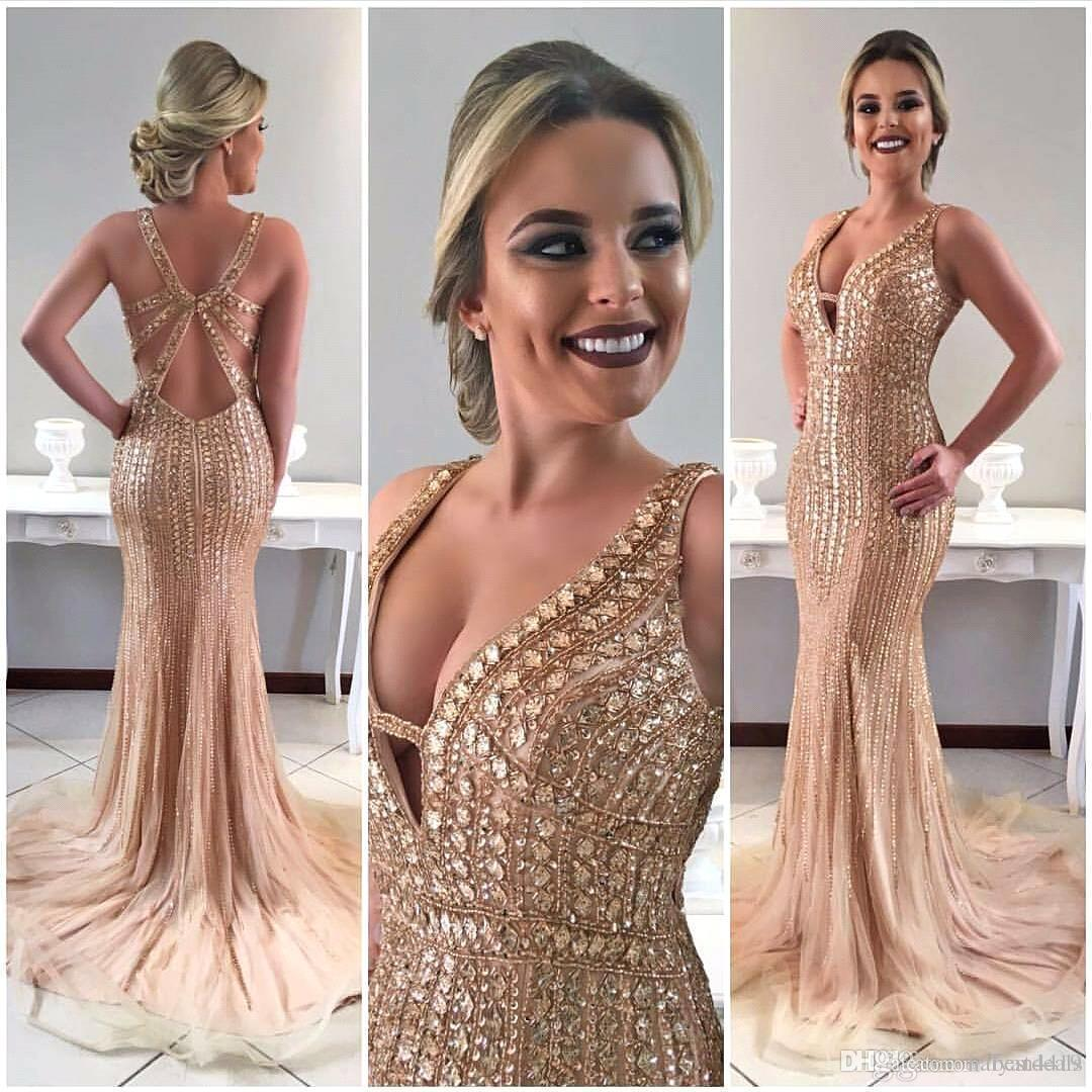 2018 Gold Mermaid Sparkly Prom Dresses Deep V Neck Backless Beading Crystal Corset Back Sweep Train Lace-up Evening Party Pageant Gowns