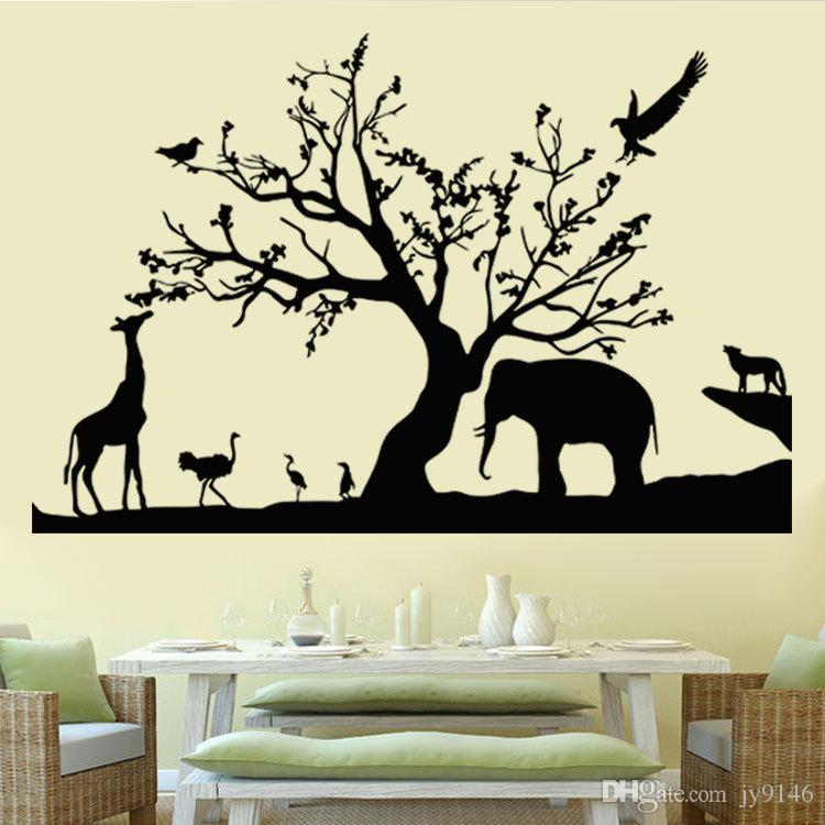 black safari wall decals vinyl self adhesive removable forest rh dhgate com