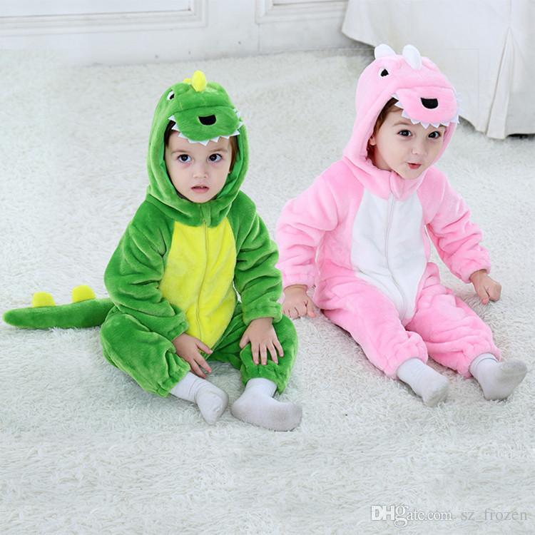 Roupas de Halloween Macacão de bebê primavera novos meninos / meninas flanela jumper de dinossauro dos desenhos animados macacão para a festa de Halloween Natal A-568