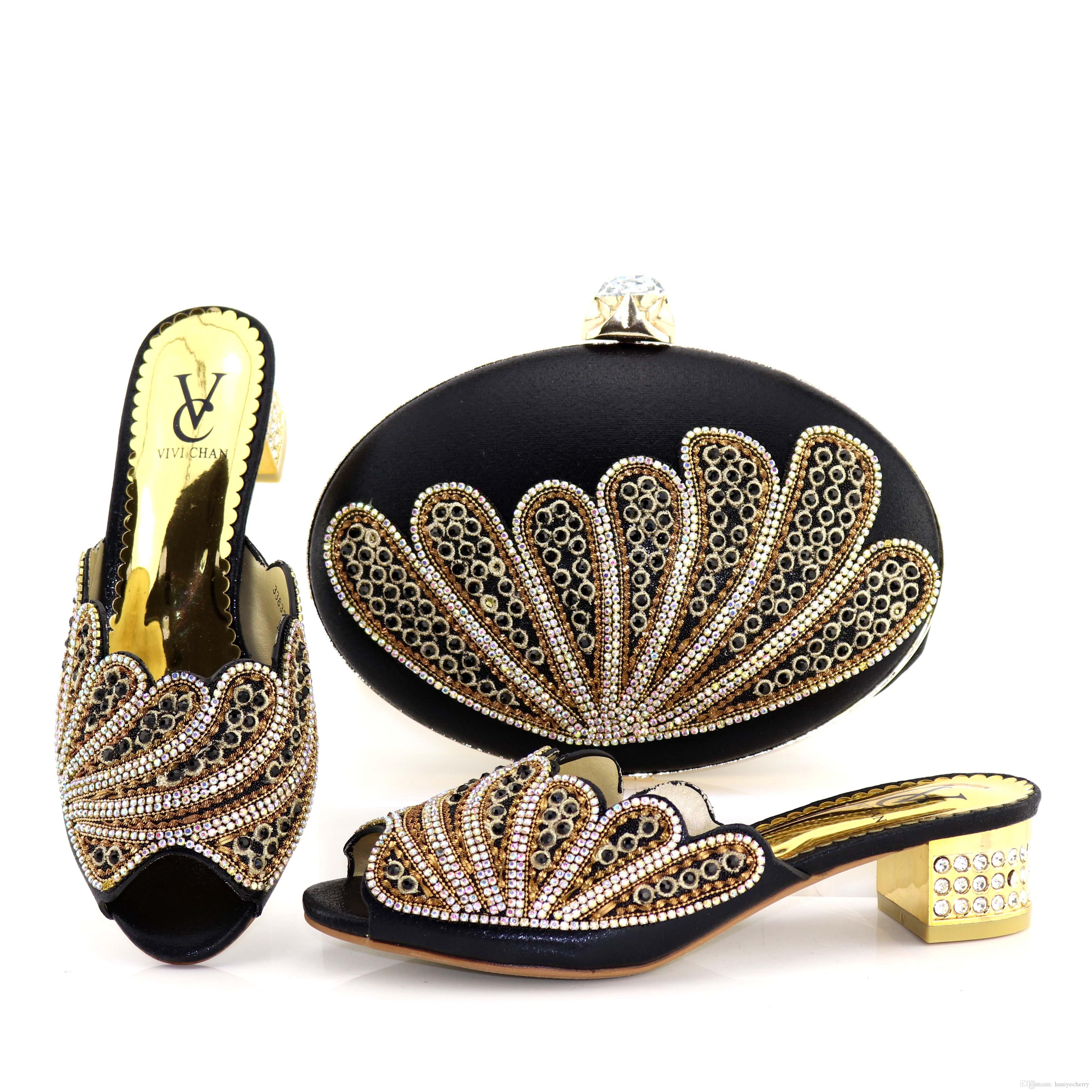 c7a02abe17 Black Color Low Heels For Wedding Fashion Shoes Matching Bag Set For Party  Shoe And Bag Set In High Quality For Wholesale Pink Shoes Salt Water  Sandals From ...