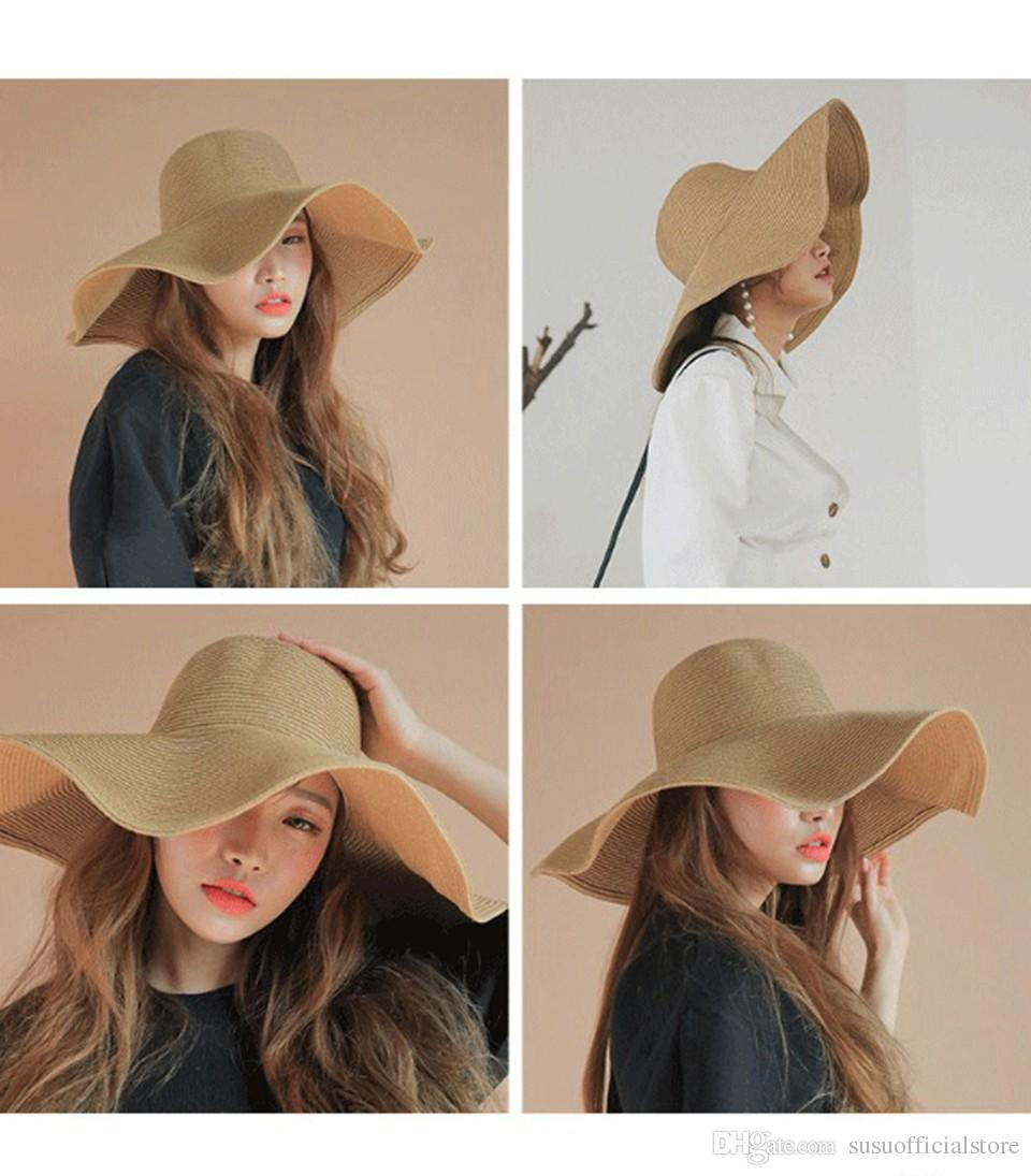 2018 Summer Floppy Beach Straw Hats Casual Vacation Travel Sun Hat Wide  Brim Hats For Women Wide Brim Fedora Summer Hat From Susuofficialstore 1f0ba422f5c1