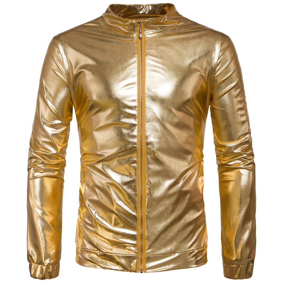buy popular 2878c 2984c Neue Trend Metallic Gold Bomberjacke Männer / Frauen Veste Homme 2017  Nachtclub Mode Slim Fit Reißverschluss Baseball Varsity Jacke