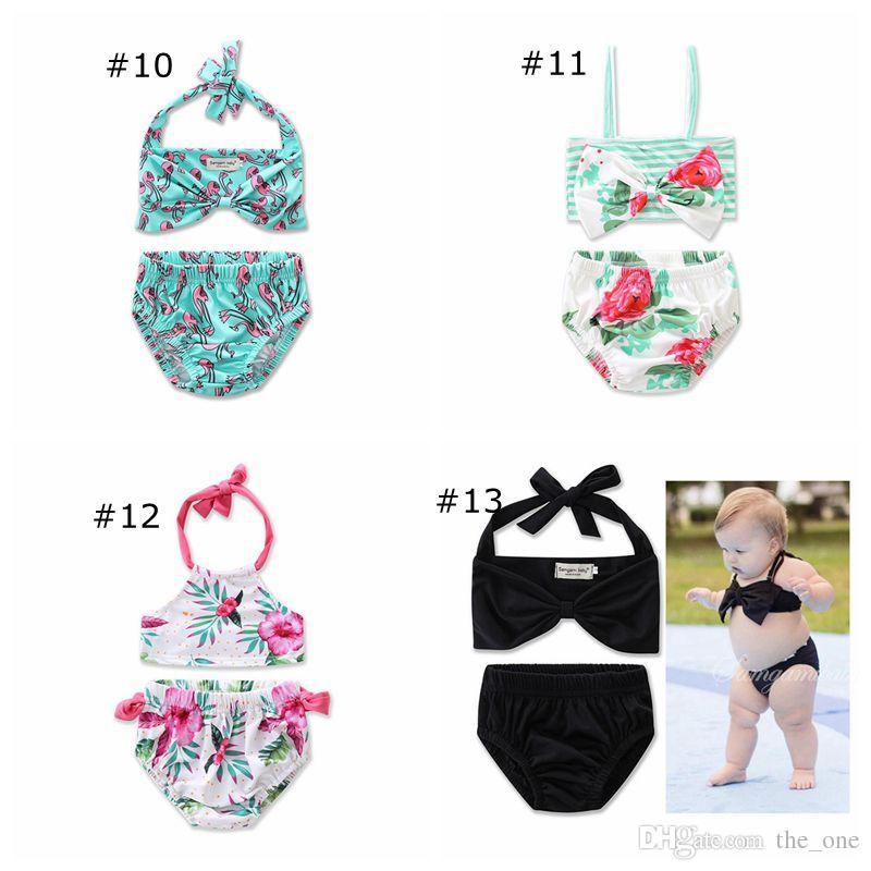 Sevimli Bebek Kız Iki Adet Bikini set Yaz Çocuk Kız Çiçek Baskılı Yay Bikini Halter Bandaj Mayo Mayo plaj mayo